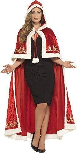 Mrs Claus Deluxe Kostüm - Fancy Me Damen Deluxe Lang Roter samt Fräulein Claus Weihnachten Weihnachtsmann Weihnachten Festlich Noel Mantel Umhang Maskenkostüm