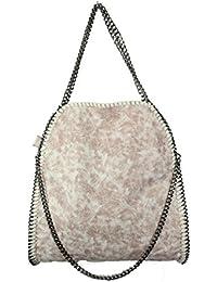 Handtasche VIVIEN Lederlook Damen Schwarz Beuteltasche mit Kette (Beige weiss01)