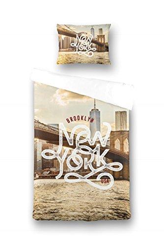 Aminata – bunte Bettwäsche 135x200 cm Baumwolle + Reißverschluss zum Wenden New York NY Wendebettwäsche Brooklyn Bridge Empire State Building USA Fotodruck Bettwäscheset Bettbezug Normalbettgröße