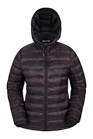 Mountain Warehouse Seasons Women's Printed Padded Jacket - Water-Resistant, Filled with Lightweight Microfiber, Elasticated Cuffs & Hood, Two Front Pockets Black