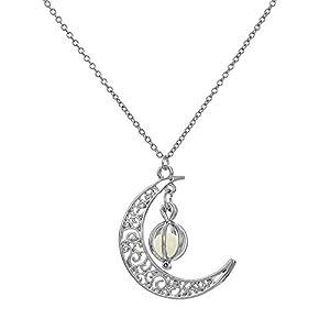 Chenang Modeschmuck Schlüsselbeinkette, Schmuck Mond Plus Kürbis Anhänger mit Gravur Leuchtend Herz Kette für Damen/Frau/Freundin/Tochter