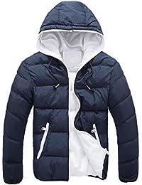 Sannysis Abrigo de invierno de esquí para hombre algodón de chaquetas, chaquetas gruesas de invierno con capucha (Armada, 2XL)