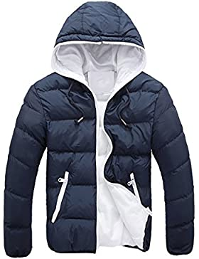 [Patrocinado]SHOBDW Hombres delgado informal chaqueta caliente encapuchado invierno gruesa abrigo parka abrigo con capucha
