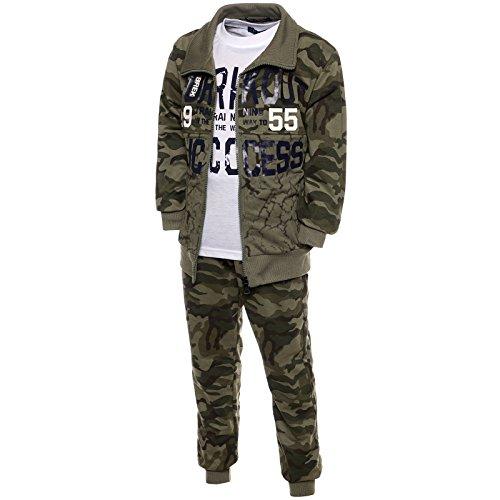 Deutsche Hose Camouflage (Camouflage Sportanzug Kinder 3 Tlg. Set Hoodie Sporthose T-Shirt 21770, Farbe:Grün, Größe:140)