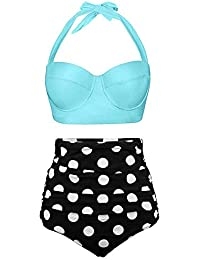HEARTBEAT Trajes De Baño Vintage Bandeau Mujeres Push Up Polka Dot Plus Size Trajes De Baño Bikini De Cintura Alta