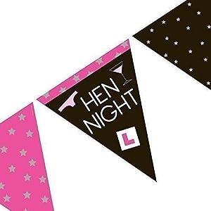 Gifts 4 All Occasions Limited SHATCHI-539 Banderines de papel triangulares de 3,7 m, ideales para decoración de despedidas de soltera, salidas nocturnas de niñas, multicolor
