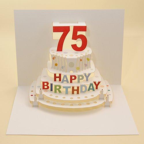 Forever Handmade Pop Up Karte zum 75. Geburtstag - eine hochwertige und originelle Geburtstagskarte, Glückwunschkarte oder Einladungskarte, auch Geschenkgutschein oder Geldgeschenk. GP069 (75. Geburtstag)