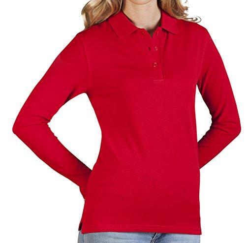 Polo femme manches longues rouge feu