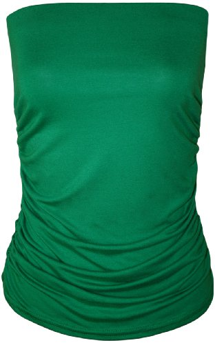 WearAll - Uni bustier bandeau top ruché sans bretelles - Hauts - Femmes - Tailles 36 à 42 Jade