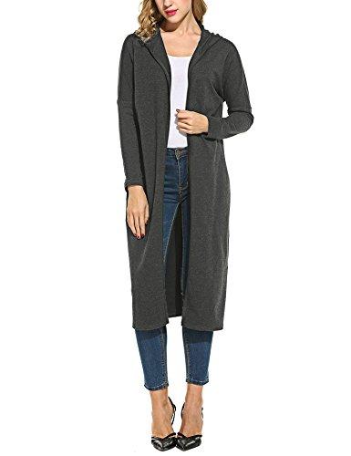 Beyove Damen Strickjacke mit Spitze Offene Cardigan Strickmantel Outwear Langarm mit Kapuze Mantel Coat (EU 38(Herstellergröße: M), C+Dunkelgrau)