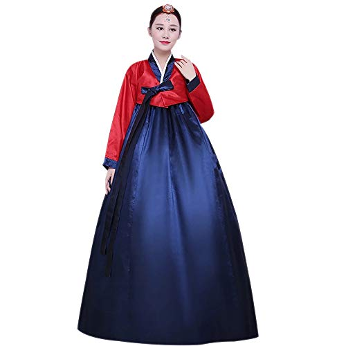 XFentech Damen Bühnenshow Kleider - Langarm Retro Traditionelle Hanbok, Rot-Navy Blau, EU S=Tag ()