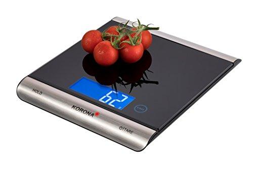 Korona 70230 Digitale Küchenwaage Finja-Wiegen bis zu 15kg-Elektonische Waage zum Backen und Kochen-Digitalwaage mit großer Wiegefläche, glass, 15 kilograms, Schwarz