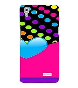 PrintVisa Colorful Heart Design 3D Hard Polycarbonate Designer Back Case Cover for Oppo R7