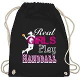 Handball - Real Girls Play Handball weiß - Unisize - Schwarz - WM110 - Turnbeutel & Gym Bag