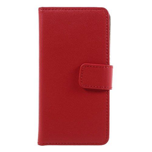 AMEEGO iPhone 5C Echtes echtes Leder Brieftasche Flip Case mit Tan Innen, Ständer, Kartenfächer und Magnetverschluss Schlankes Design Notebook Flip Cover RED