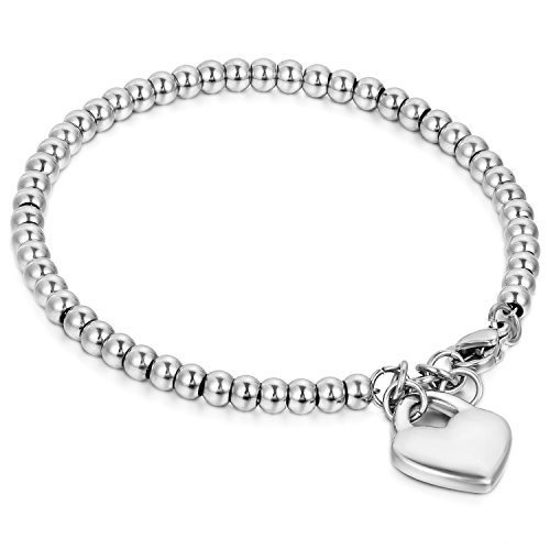 Flongo braccialetto fortunato per donna bracciale di perline in acciaio inox pendente cuore argento ciondolo cuore per good fortune, stile semplice