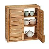 Relaxdays Wandschrank aus Bambus, 2 Türen, höhenverstellbare Einlegeböden, Quadrat Hängeschrank, HBT: 56x56x21 cm, Natur