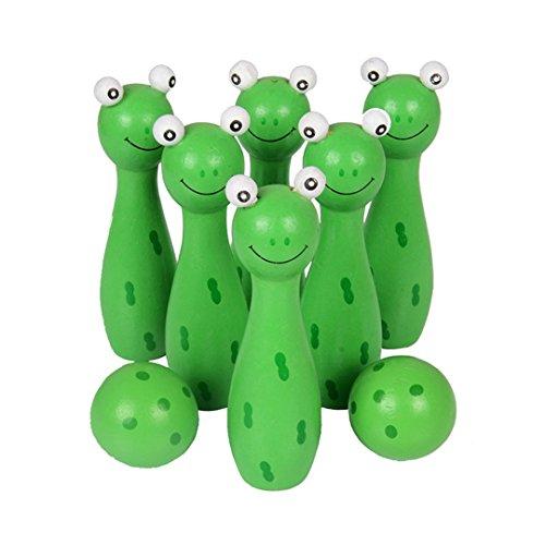 Milya Bowling Spielzeug - Holz 6+2 Set Kegel Kugel Bowling pädagogische Spielzeug interaktive Spielzeug Bowling-Set Geeignet für Kinder ab 2 Jahren (grün)