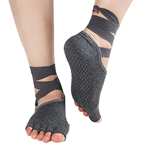 Frauen Anti-Skid Yoga Socken Lace-Up Toeless nicht Beleg Grip Pilates Workout Socken (grau) - Lace-up-socken