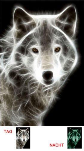 Startonight, luce nel buio Quadro su tela, Lupo bianco astratto 40 cm x 60 cm