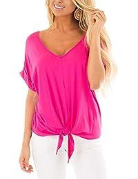 8684bb0e5285 Udgwaz Damen Casual Kurzarm T-Shirt V-Ausschnitt Oberteil Tops Bluse Shirt  mit Knoten