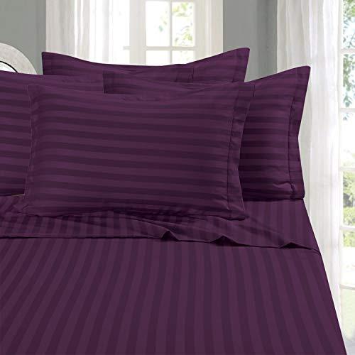 Eleganten Komfort® seidig weich 1500Fadenzahl Ägyptische Qualität faltenfrei 4Streifen-Bettlaken-Set, California King, Violett -