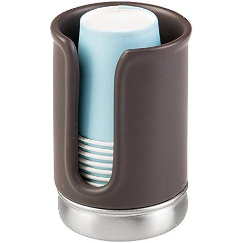 InterDesign York colección de baño dispensador de vasos de papel desechables para baño, acero, mate marrón/níquel cepillado, 4piezas
