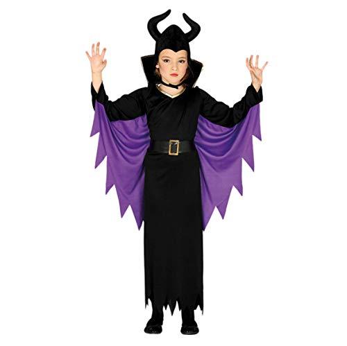 Guirca Kostüm Regina Malefica Mädchen 5/6 Jahre, Farbe schwarz und lila, 5-6, - Disney Maleficent'aurora Kostüm