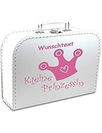 """Kinderkoffer Pappe weiß mit Krone """"Kleine Prinzessin"""" und Wunschname, Malkoffer Spielzeugkoffer Spielkoffer Pappkoffer"""