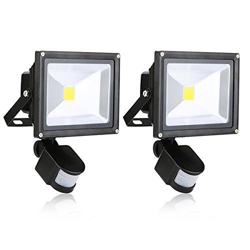 PUERI 2X20W wasserdichte LED-Scheinwerfer mit Sicherheit Motion Sensor Warm White Flood Lam [Energie Klasse A - Bewegungs-sensor Führte Flut-licht