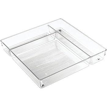 InterDesign Linus, Rangement de tiroir de cuisine pour couverts, ustensiles et argenterie - Grand, Transparent