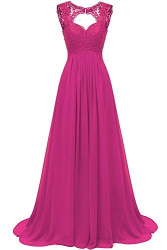 Fuchsia Brautjungfer Kleider (Carnivalprom Damen Chiffon Abendkleider Für Hochzeit Elegant Spitze Brautjungfer Kleider Lang Ballkleider(Fuchsie,44))