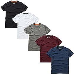 Charles Wilson Paquete 5 Camisetas Cuello Redondo Lisas (Medium, Essentials)