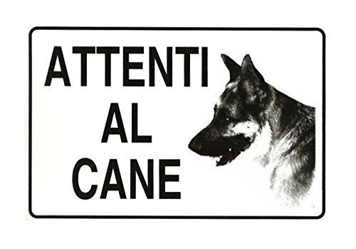 Cartello plastificato 'Attenti al cane' - Segnale indicatore in plastica PVC