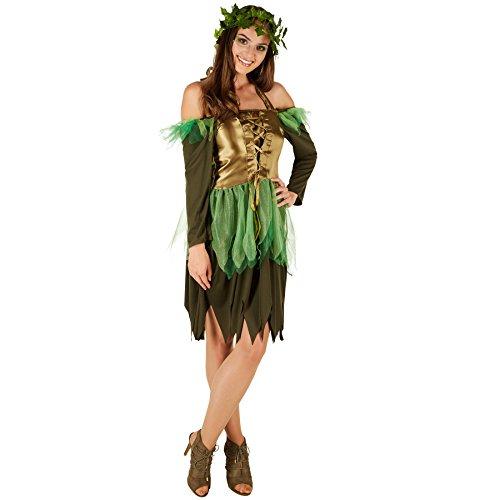 TecTake dressforfun Frauenkostüm Waldfee | Bezauberndes Kleid | Korsagenlook | inkl. Kopfkranz aus Kunstefeu (XL)