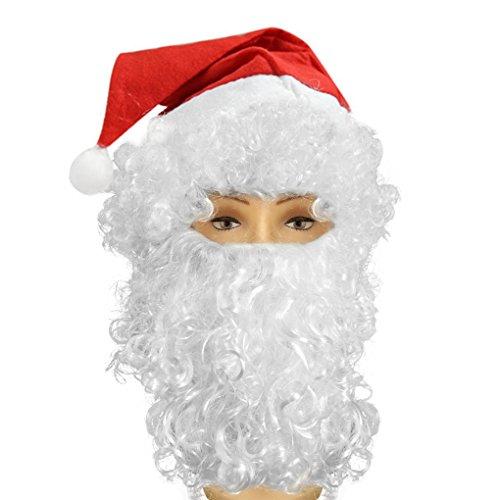 YJZQ Noël Perruque complète Bonnet et Barbe frisée complète Père Noël Perruque et Barbe Costume Noël Chapeau et Perruque pour Déguisement Pendant féte de Noël
