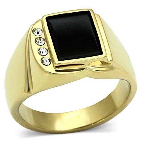 ISADY - Dario - Herren-Ring - 585er 14K Gold platiert - Zirkonium und Email Schwarz -T 60 (19.1)