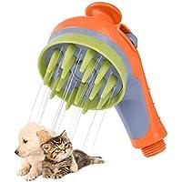 Escomdp Cabezal de Ducha de Masaje para Mascotas, Rociador del Masaje del Baño de los Gatos del Perro, Antideslizante El Ahorro de Agua Universal Herramienta de Masajeador de Baño Puppy (Naranja)