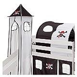 IDIMEX Turm PIRAT zu Bett mit Rutsche, Spielbett, Rutschbett, Kinderbett in schwarz/weiss
