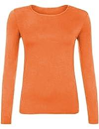 8d5f3b092f3 Z H Ladies Womens Plain Long Sleeve Round Neck Top Basic T Shirt Layering  Plus Sizes UK