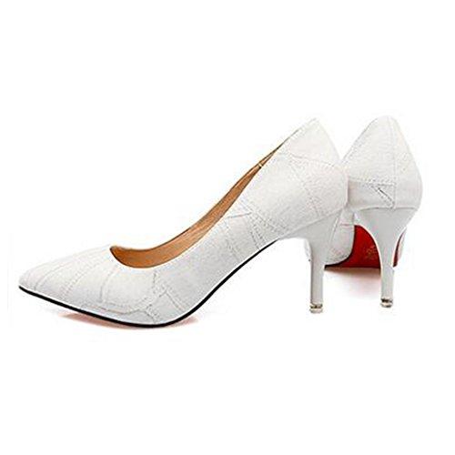 W&LM Signorina Tacchi alti Questo è buono Scarpa Bocca poco profonda Molto sottile Nel tallone Scarpe singole Scarpe casual White