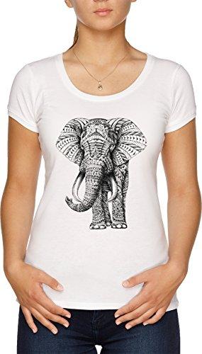 Florido Elefante Camiseta Mujer Blanco
