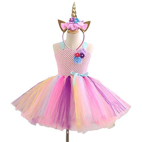 nbogen Kostüm Set, Ballett Tutu Kleider + Einhorn Stirnband für Party (Halloween Kostüme Für Mädchen Im Alter Von 9 10 Jahren)