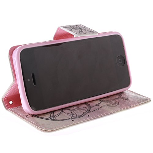 QSY® Apple iPhone 5 5S PU Cuir Coque silicone Etui Strass etui Case Cas Cuir Housse Leather Swag Flip Case Cover Coquille ouverture avec Fonction Stand et les fentes de carte de crédit pour Apple iPho 2