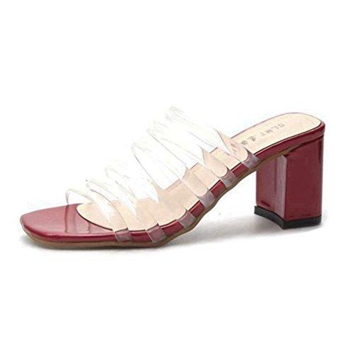 Franco Sarto Peep Toe (Frauen Sandalen öffnen Toe Transparent Heel Pantoletten auf Peep Toe Klobige Block Heel Sandalen)