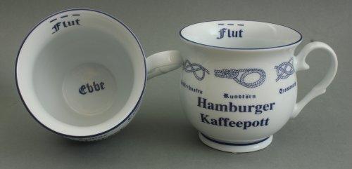Buddel-Bini Hamburger Kaffeepott mit Seemannsknoten bauchig Hamburg Andenken Kaffeebecher