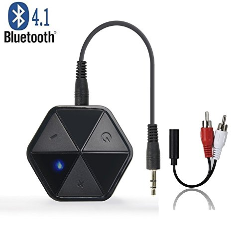 Friencity Bluetooth V4.1 Freisprech Audio Empfänger für Musik Streaming und Telefonieren, Wireless 3.5mm Aux Adapter Car Kit mit Mikrofon für Kabel Kopfhörer, Lautsprecher, Home HiFi, Auto Stereo Sound System Car-audio-verstärker Jl Audio