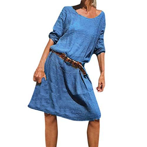 LOPILY Damen Kleid Baumwolle Einfarbiges Plissee Tunikakleid Langarm Blusenkleid Damen Sommer Herbstkleid Freizeit A-Linie Kleid Arbeitsbekleidung Knielang Kleid Damen Lässiges Strandkleid (Blau, 40)