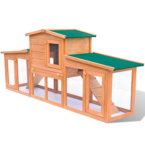 Anself Großer Kaninchenstall Hasenstall Kaninchenkäfig aus Holz mit Dach 190 x 46 x 85 cm