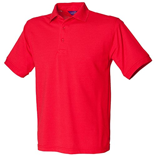 Henbury Herren komfortable Fit Stand-Up Collar Short Sleeved-Poloshirt 65/35 (DE) Rot - Rot